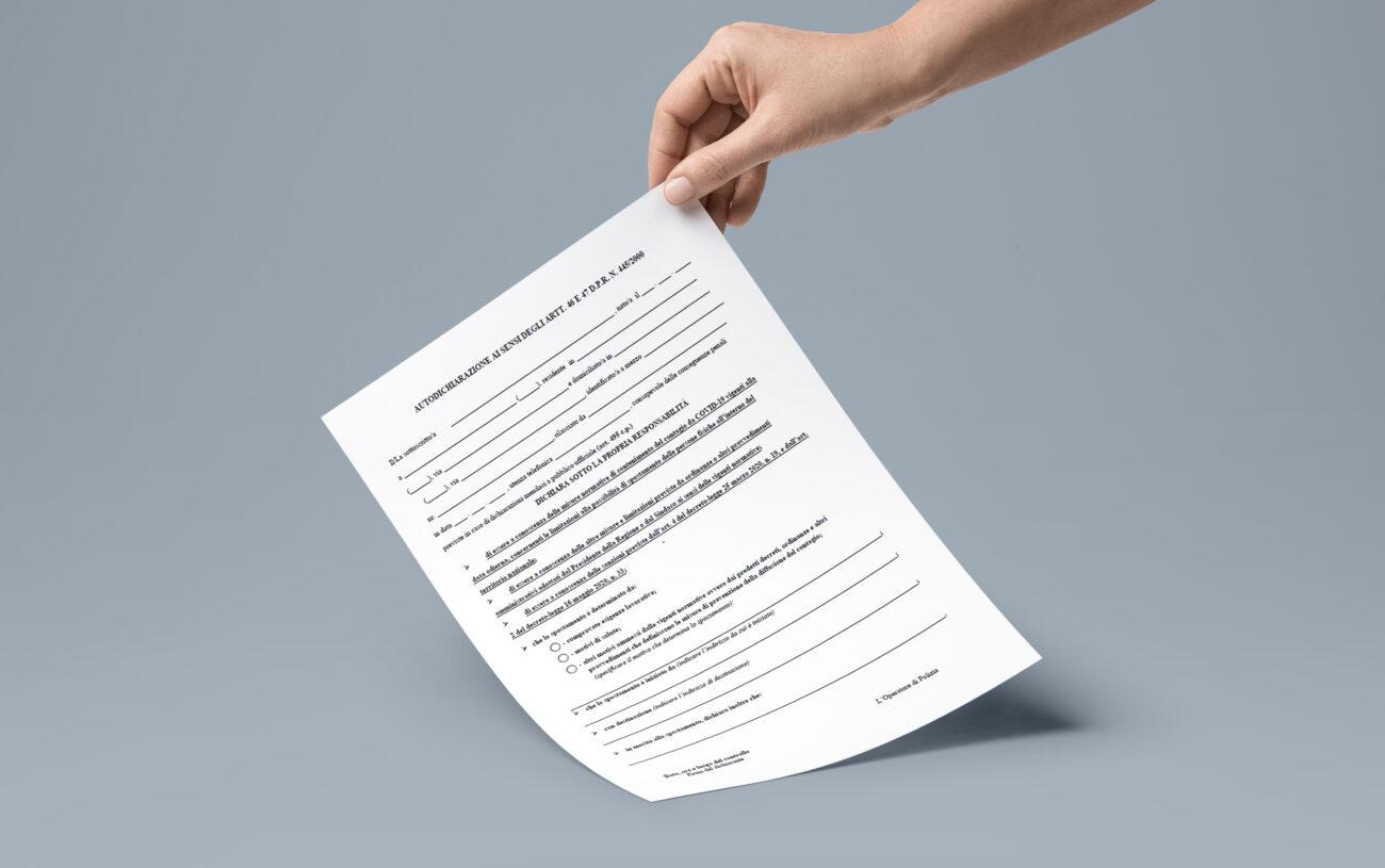 Modello autodichiarazione editabile ottobre 2020
